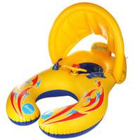 barcos de natación al por mayor-El anillo de natación de la interacción del bebé-niño de la sombrilla del asiento del bebé con la manija y los barcos del cuerno sientan la seguridad de la natación del verano dobla el asiento flotante
