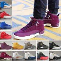 Wholesale Multi Game - New 12 mens basketball shoes Bordeaux Dark Grey wool white GS Barons Flu Game UNC Gym red taxi gamma french blue Suede sneakers Sport shoes