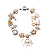rose gold mode perlen armband großhandel-Mode Rose Gold Kleine Bella Herz Perlen Legierung Kristall Armband Europäischen und Amerikanischen DIY Brief Anhänger Armband Frauen Für Geschenk Party