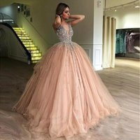 ingrosso dolci arabi-Modern Deep V Neck Long Quinceanera Dresses Crystals Backless Sweet 16 Arab Dubai Evening Party Gowns