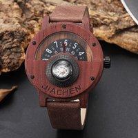 наручные часы коричневый кожаный ремешок оптовых-Твердые деревянные поворотный стол номер дизайн мужские деревянные часы мужчины коричневый древесины Кожаный ремешок творческий Кожаный ремешок наручные часы для подарков