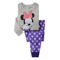 Wholesale wholesale cartoon leggings - 2-7T Cartoon Kids Pajama Set Children Warm Cotton Pyjamas Leggings Pants 2pcs Baby Girl Boy Pyjamas Clothing Suit