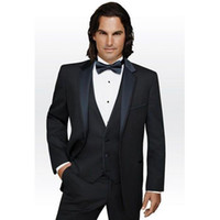 мужская мода черный галстук оптовых-Hot Sale 2017 Groom mens suits Fashion Black Business Customized tuxedos Wedding fashion men suit ( jacket+Pants+vest+tie)