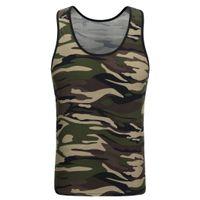 chaleco verde para niñas al por mayor-2018 New Classic Basic Green Tank Tops Tops de punto Girls Camis Casual Vest sin mangas T Shirt Female Camouflage Vest