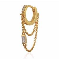 ingrosso orecchino europeo del cerchio-orecchino a catena con nappa cz mini hoop placcato oro moda donna europea signore splendida moda orecchini gioielli alla moda