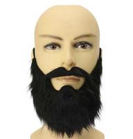 caráteres do dia das bruxas venda por atacado-Adereços Bola de Halloween Falso Barba Barba Homem Negro Engraçado Velo Velho Personagem COS Longo Cabelo