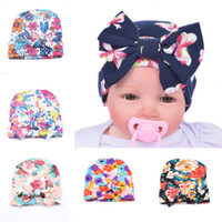 bf25455f57614 DreamShining Design Baby Hats Printed Bow Girls Knitted Cap Beanie Cotton Hat  Newborn Infant Winter Warm Caps Accessories