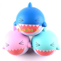 Wholesale wholesale sharks toys - Squishy Jumbo Shark Squeeze Slow Rising Soft Phone Charms Key Chain Stress Reliever Cake Sweet Cartoon Animals Kids Gift Toys