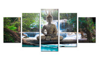 Wholesale panel wall art buddha framed - Amosi Art 5 Panels Canvas Wall Art Buddha Statue The Beautiful Forest Waterfall Background Canvas Painting for Home Decoration Wall Picture