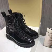 schwarze lackleder kurze stiefel großhandel-London Damen Brooke Black Lace-up Knöchel Winter Short Ritter Martin Cowboy Echtes Patent Leder Schuhe Stiefel Größe 35-40