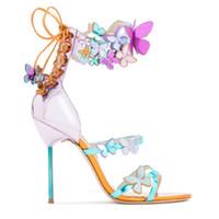 ingrosso le scarpe da disegno della farfalla-Sophia Webster donne sandali da sposa mujer estate disegno della farfalla sexy tacchi alti sandali peep toe donne pompe vestito da partito scarpe size42 41