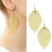 Wholesale United Blades - 2018 United States Earrings gemstone earrings golden Hollow out Leaf blade Jewelry For Women Party Gift .100 pcs 50 pair Free shipping 94