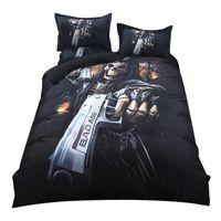 skull bedding оптовых-2018 Gothic Gun Skull Print Комплект постельных принадлежностей Комплект полиэфирных покрытий из микрофибры Комплект Twin Queen King 3Pc Подушки для белья