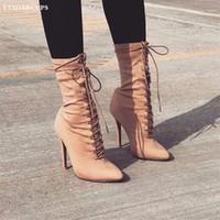 ingrosso sesso della donna di caricamento-Nuove scarpe da donna invernali Sharp head Martin boots Elastico stoffa sex appeal Scarpe col tacco alto banchetto Stivali medio canna 35-40