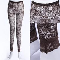siyah ayaksız tozluklar toptan satış-Sıcak Satış Seksi Pijama Siyah Kadın Lady Gül Dantel See-Through Tayt Pantolon Footless Clubwear Ücretsiz Kargo