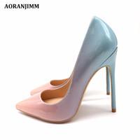 hellblaue hochpumpen großhandel-Freies Verschiffenfrauendame 2018 elegantes hellblaues zum rosafarbenen Lackleder Pointed Toes, das Fersen Stilett-Absatz-Schuhe pumpt, 120mm 12cm