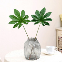 Wholesale Plastic Plates For Weddings Wholesale - Octagonal Gold Plate Leaves Durable Plastic Simulation Artificial Green Plants Bending Decorations Leaf For Wedding 3 5lx B