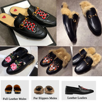 Wholesale round flat gold chain - Brand Luxury Designer Princetown Fashion Mules Flats Chain Ladies Casual shoes Women Men Fur Slippers Genuine Leather w01