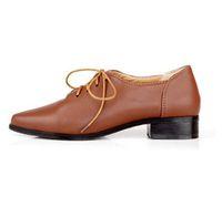 ingrosso stivali piatti marroni per le donne-Nuovo 2018 Brown Fashion Quality Lace Up Oxford scarpe per le donne stivali piatti per le scarpe da donna