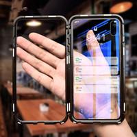 металлические флип-чехлы оптовых-Новые магнитные адсорбции флип для Iphone Xs max магнитный чехол закаленное стекло задняя крышка металлические бамперы для Goophone телефон случае