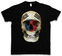 южный флаг оптовых-КЛАССИЧЕСКАЯ ФУТБОЛКА ЮЖНАЯ КОРЕЯ ФЛАГ ЧЕРЕП - Футболка Biker MC, размер S - 5XL Ment Shirt Summer Style