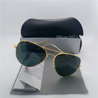 lila sonnenbrille kinder großhandel-Hohe Qualität Glaslinse Marken Sonnenbrillen Männer Frauen Metallrahmen 58 MM 62 MM Trends Vintage Eyewear Flache 10 Farbe Spiegel UV400 Pilot Cases Box