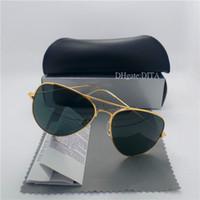 vintage metal gözlük toptan satış-Yüksek Kaliteli Cam Lens Markalar Güneş Gözlüğü Erkekler Kadınlar Metal Çerçeve 58 MM 62 MM Eğilimler Vintage Gözlük Düz 10 Renk Ayna UV400 Pilot Kılıfları Kutusu