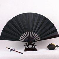 elle boyalı ipek toptan satış-Boş Siyah El Fan Büyük Çin Bambu Ipek Katlama Fan DIY Düğün Programı Fan Yetişkin Güzel Sanatlar Boyama 1 adet