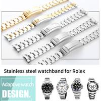 bracelet fin pour les montres achat en gros de-Montre bracelet de 20 mm Sangle de 316L inoxydable Bracelet en acier courbé Fin Argent Montre Accessoires Homme pour Submariner or Bracelet de montre + Outils
