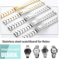 Wholesale watch 316l resale online - Watchband mm Watch Band Strap L Stainless Steel Bracelet Curved End Silver Watch Accessories Man Watchstrap for Submariner Gold Tools