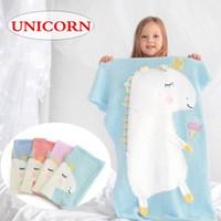 creme baby decken großhandel-Einzelhandel Einhorn eis design Decken INS Baby Gestrickte Decke Bett Krippe Kleinkind Weiche Krippe Decke 110 * 65 cm