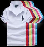 Wholesale high collar men shirt - 2018 Summer High Quality brand lapel Polo Shirt Men Short Sleeve Casual Men Big Horse Shirts Slim Fit Polo Cotton Mens Polos S-5XL