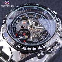 Wholesale mechanical skeleton watch movement - Forsining Men's Watches Mechanical Hand Wind Movement Waterproof Skeleton Design Sport Wristwatches Top Brand Luxury Male Clock
