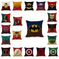 karikatür minderleri toptan satış-Süper kahraman Avengers yastık kılıfı karikatür yastık kılıfı Hulk Deadpool demir Adam Baskı Yastık Örtüsü keten Yastık Kapak Karikatür Ev TextilesC4715