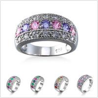 einzelhandel sterling silber schmuck großhandel-925 Sterling Silber Ring Multi Farben Kristall Zirkon Schmuck Großhandel Einzelhandel Ring für Frauen schnelles freies Verschiffen