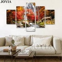 pictures forests 2018 - 5 Piece Multi Pictures Colorful Forest Waterfall Beautiful Landscape Paintings For Living Room Wall Decor Canvas Art No Frame
