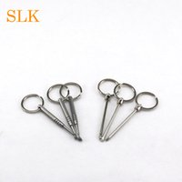 Wholesale waxing iron - Stainless steel or iron 80 mm wax dab tool dry herb vaporizer titanium nail daber with key chain