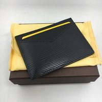 ingrosso piccolo portafoglio sottile-Borsa porta carte di credito in vera pelle nera classica sottile sottile porta carte di identità borsa da tasca borsa moda borsa da uomo piccolo portafoglio da viaggio