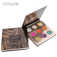 Wholesale bright palette - FOCALLURE Professional 9 Colors Makeup Eyeshadow Palette Eye Shadow Bright Glitters Makeup Lips Face Glitter Palette