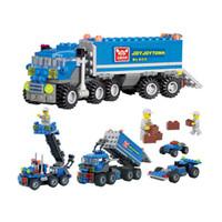 pequeños camiones de juguete al por mayor-¡Favorito para niños! 163 unids diy transporte camión volquete que ensambla los juguetes pequeñas partículas bloques de construcción educativa brinquedos