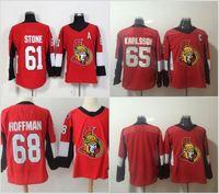 ottawa senador jersey al por mayor-2018 Nueva Ottawa Senators 61 Mark Stone Jersey 18 Hombres 65 Erik Karlsso 68 Mike Hoffman Camisetas de hockey bordado