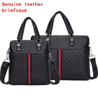 leather handbag embossed 2018 - Factory direct selling brand men package fashion rhombus leather business handbag large capacity cowhide leather three dimensional embossed