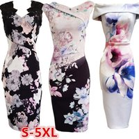 Wholesale white cold shoulder dress - Women Fashion Pink 3-Types Lace Floral Print Casual Cold Shoulder Summer Microfibre Bodycone Dress NJ0804