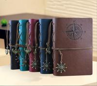 a6 merkzettel großhandel-Großhandel Vintage PU Leder A6 Reisejournal Reisen Tagebuch Buch Notizblöcke Notebook Fans Sammlung Beste Geschenk Für Kinder Studenten