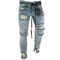 jeans rasgados europeus para homens venda por atacado-Moda Streetwear dos homens Jeans Skinny Fit Europeu americanos destruíram Ripped Jeans quebrado Pants Punk Homme Homens de Hip Hop