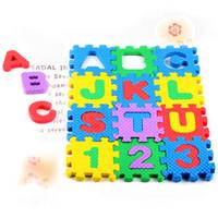 schaumpuzzles großhandel-36pcs Schaum-Teppich-Karikatur-Buchstabe-Digital-Puzzlespiel-Baby-kriechende Matte