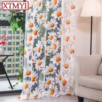 Wholesale panel 42 online - Modern Tulle Curtains For Living Room Bedroom Kitchen Curtain Yellow Floral Window Treatment Curtain Panel Drape
