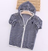 Wholesale sun protection clothing women for sale - spring and summer children s clothing for boys and girls striped hooded sun protection clothing children coat zipper shirt