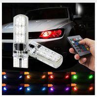 controlador blanco al por mayor-T10 RGB 6SMD 5050 led 194 168 Coche con control remoto Flash / Strobe t10 Lectura de cuña de luz multicolor
