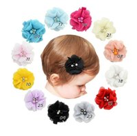 Wholesale Hair Bobby Pin Color - 12 color Baby Girls Hair Clips kids Barrette Baby Hairpin with Flowers children girls hair accessories bobby pin with pearl rhinestone